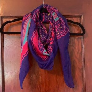 H&M deep blue, pink & teal paisley square scarf